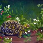 """Florida Box Turtle with Strawberries and Flowers"" by vivianeagleson"