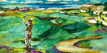 Golfing by the Sea Oil Painting by Ginette
