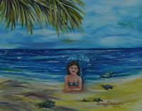 Young Mermaid on the beach with hatching turtles