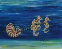 Baby Mermaid in Sea Horse Buggy