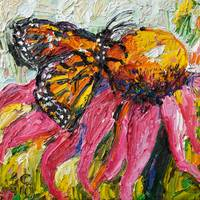 Monarch Butterfly & Purple Coneflower Oil Painting