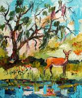 Deer Lake Paradise Oil Painting by Ginette