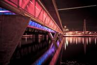 Tempe Town Lake Light Rail Bridge at night- Red