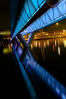 Tempe Town Lake Light Rail Bridge at night- Blue