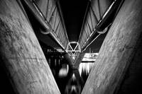 Tempe Town Lake Light Rail Bridge at Night B&W