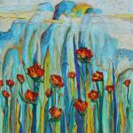 """Poppies with Mountains"" by Joselyn_Holcombe"