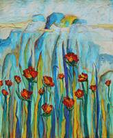 Poppies with Mountains