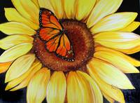 SUNFLOWER & BUTTERFLY by MARCIA BALDWIN