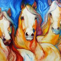 """SPIRITS THREE EQUINE ART by MARCIA BALDWIN"" by MBaldwinFineArt2006"