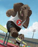 racing running elephants in athletic stadium