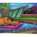 """Palm Springs Dog Lounge"" by FatFreeComics"