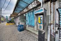 Pay phone, graffiti, subway entrance, Hunters Poin