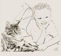 Young Boy and Cat