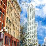 """Smith Tower & Mutual life building in Seattle"" by ShaSha"