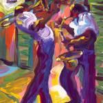 """Trumpet and Saxophone Under the Lamp"" by sandrabolensamuel"
