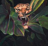 tiger and leaves