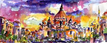 Saint Peter Basilica Rome Watercolor by Ginette