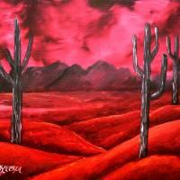 southwestern oil cactus landscape painting Art Prints & Posters by Derek McCrea