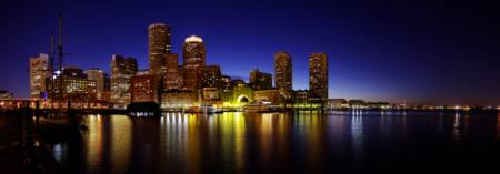Boston's Rowes Wharf at night panorama
