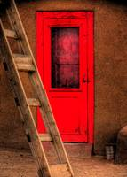 Ladder and red door.