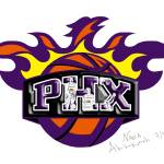 """Phoenix Suns Logo Drawing Design"" by NadiaAbuhakmeh"