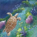 """Turtle Under The Sea"" by kathywoolingtonart"