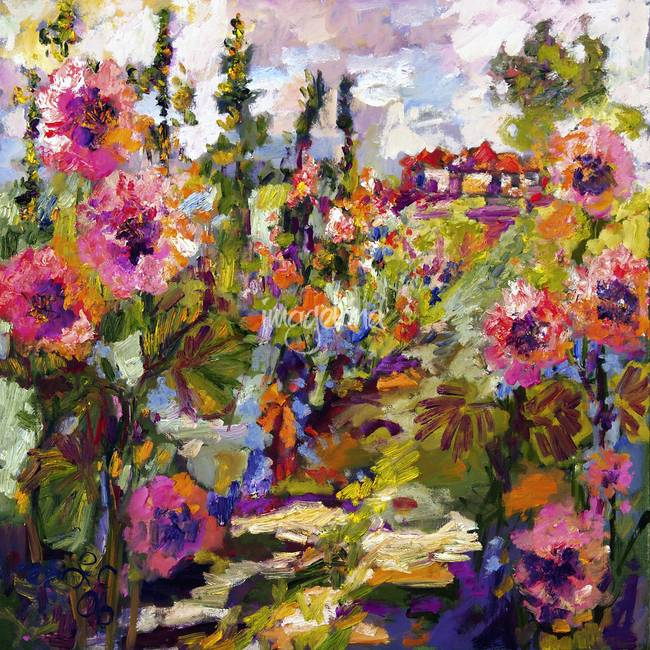 Impressionist Hollyhock Garden Path Oil By Ginette Callaway