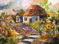Garden Cottage Oil Painting by Ginette Callaway