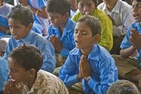 Morning prayers, school assembly, Rajasthan, India