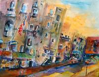 Savannah River Street Watercolor by Ginette Callaw