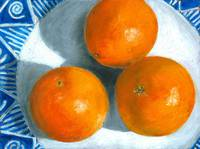 Oranges on Blue and White Plate