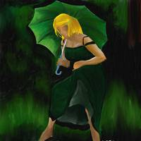 Girl with Green Umbrella