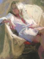 girl in draped chair