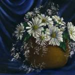 """Daisies in Blue Fabric"" by Lenora"