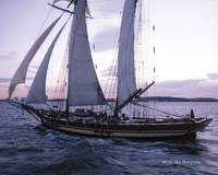 Schooner Pride Of Baltimore ll sailing at dusk