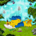 """""""Ferald Drawing By The Waterfall"""" by KeithWilliams"""