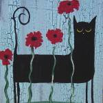 """Black Cat Poppies"" by thecatandthecauldron"