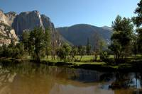 Yosemite Falls and Meadow from Swinging Bridge