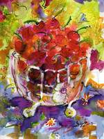Bowl Of Cherries Mixed Media Painting by Ginette