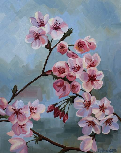 Cherry blossom tree oil painting images for Cherry blossom canvas painting
