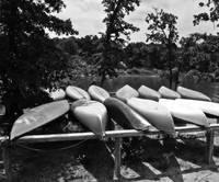 Canoes in black and white