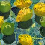 """Lemons and Limes, Abstract Art Collage from Piano"" by schulmanart"