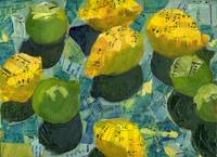 Lemons and Limes, Abstract Art Collage from Piano