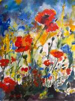 Wildflowers & Poppies Provencale Watercolor by Gin