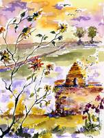 Watching The Bee Hive Watercolor by Ginette