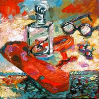 Men Stuff Red Tie Oil Painting by Ginette