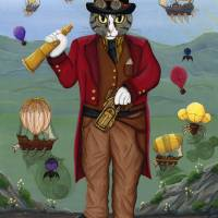 Steampunk Cat Guy Art Prints & Posters by Carrie Hawks