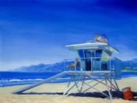 Pacific Ocean And Lifeguard At Santa Monica Beach,