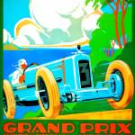 """Vintage Advertisement Europe Auto Race Rally"" by Johnny-Bismark"