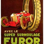 """Furor Tires ~ Vintage Automobile Tire Advertisemen"" by Johnny-Bismark"